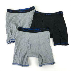 3 Pairs Hanes Boxer Briefs Underwear Mens S 28-30